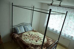 140x200cm Schlafzimmer Metallbett Bettgestell Bett schwarz + ...