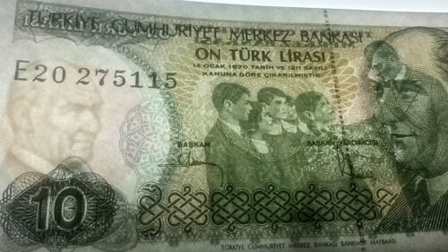 Turkey P192 10 Lira UNC  see UV /& w//m images Ataturk // Ataturk with children