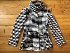 Twentyone Women's Size Small Peacoat Houndstooth Twill Dressy Belted Jacket Coat