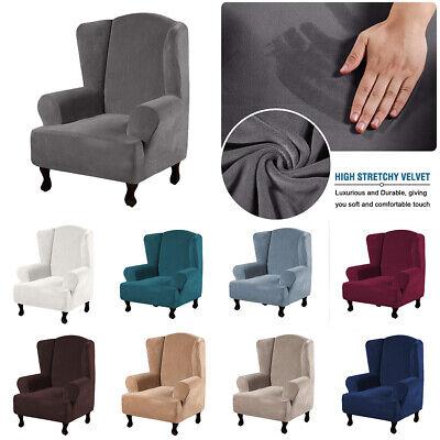 High Stretch Velvet Wing Chair Cover, Velvet Wing Chair Cover