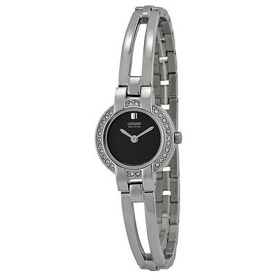 Citizen Silhouette Eco-Drive Black Dial  Bangle Ladies Watch EW9990-54E