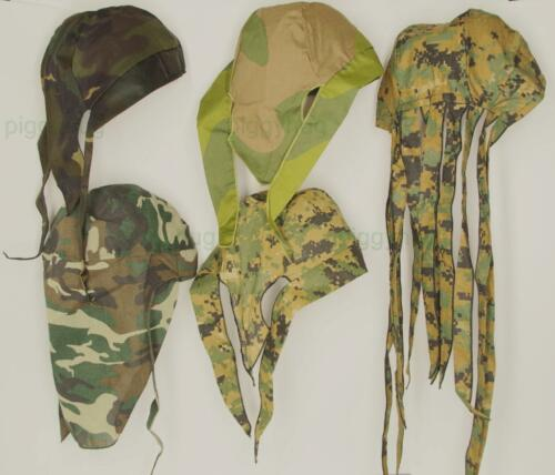 skull cap hat do du doo rag sweat band camo digital woodland sun block long tail