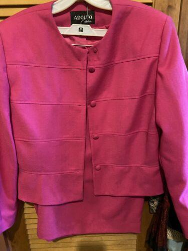 Adolfo  Suit Fuchsia Size 14 Skirt And Jacket.