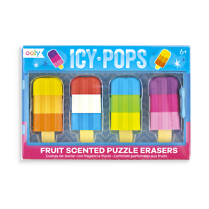Icy Pops Lolly Fruit Scented Puzzle Erasers//Rubbers Prizes Party Favours