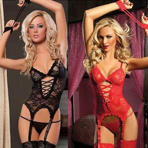 b2dd7cffcf Image is loading Sexy-Wild-Lingerie-Underwear-Women-Lace-Dress-Handcuff-