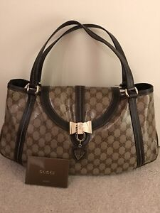 Image Is Loading Excellent Used Condition Gucci Gg Brown Patent Leather