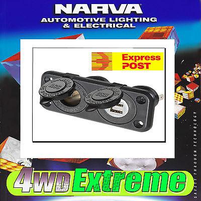 NARVA HEAVY DUTY ACCESSORY DUAL TWIN USB SOCKET CIGARETTE PLUG 12V 81144BL