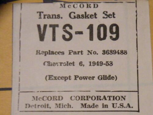 NOS McCord Transmission Gasket Set Chevrolet 6 1949-1958 3689488 VTS-109