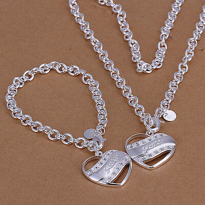 925 Sterling Silver Layered  Solid heart CZ Bracelet Necklace Sets S-A339