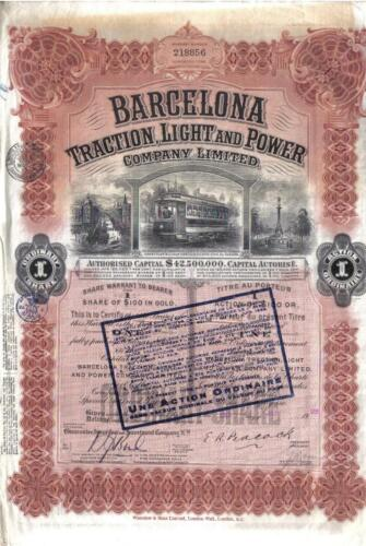Original Canada Gold Bond 1923 Barcelona Traction $100 Deco Uncancelled Waterlow