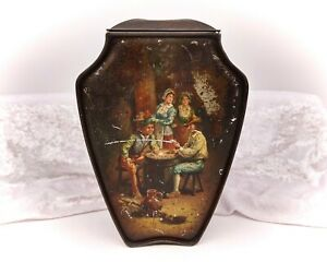 Antique-Vintage-Biscuit-Tin-Advertising-Huntley-amp-Palmers-Card-Players-Urn-Shape