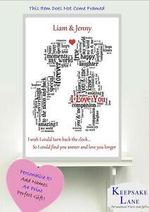 Personalised Boyfriend Girlfriend Word Art Print Gift