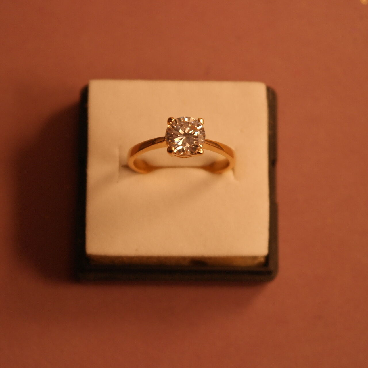 Beautiful 18 Kt.pink gold Plated Solitaire Created Diamond Ring Size P In Box