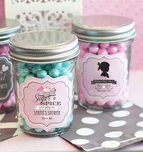 24 personalized vintage baby theme mini mason jars baby shower candy
