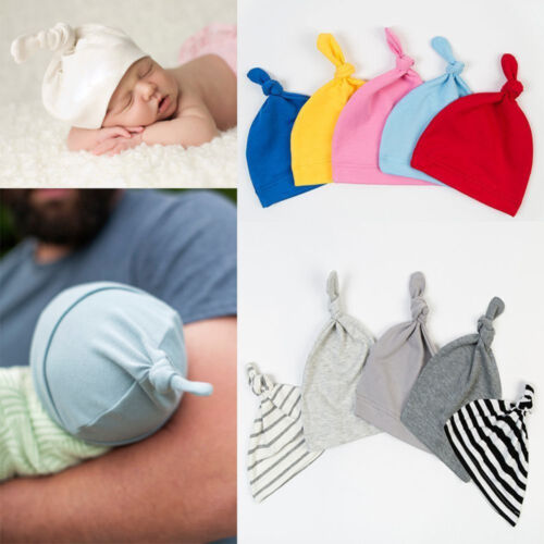 CW/_ Cotton Beanie Newborn Baby Knotted Hat Boys Girls Soft Cap Infant Toddle Eye