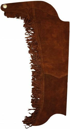 BROWN SUEDE REAL LEATHER WESTERN HORSE SADDLE SHOW CHAPS W  FRINGE ALL SIZES