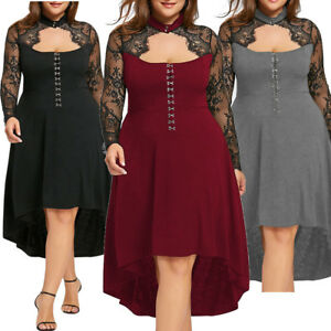 Plus Size Gothic Lace Sheer Lace Up High Low Dress Wedding Party ...