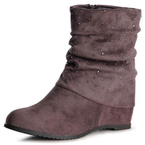 Señora tacón de cuña botines botas Booties botas Hidden de cuña