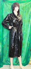 Lady's classic liquid shiney black vinyl hooded raincoat Macintosh  mistress Med