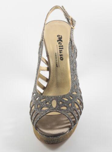 40 Melluso N In Bronzo Sandali Pelle Colore Alto Tacco Glitterata Donna J471n PvdqZwP