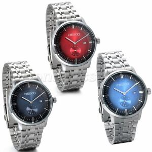 Men-039-s-Watch-Stainless-Steel-Band-Date-Analog-Quartz-Luxury-Sport-Wrist-Watch