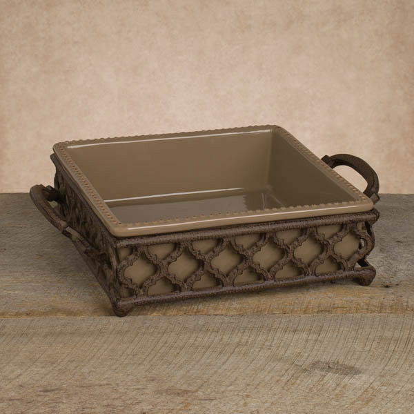 The GG Collection Ogee-G Square Taupe Ceramic Baker Serving Dish w/ Metal Base *