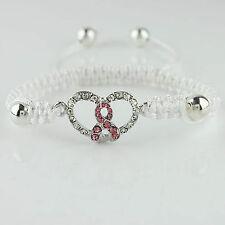 Adjustable Shamballa Cord Pink Ribbon Heart Crystal Charm Bracelet in Heart Box