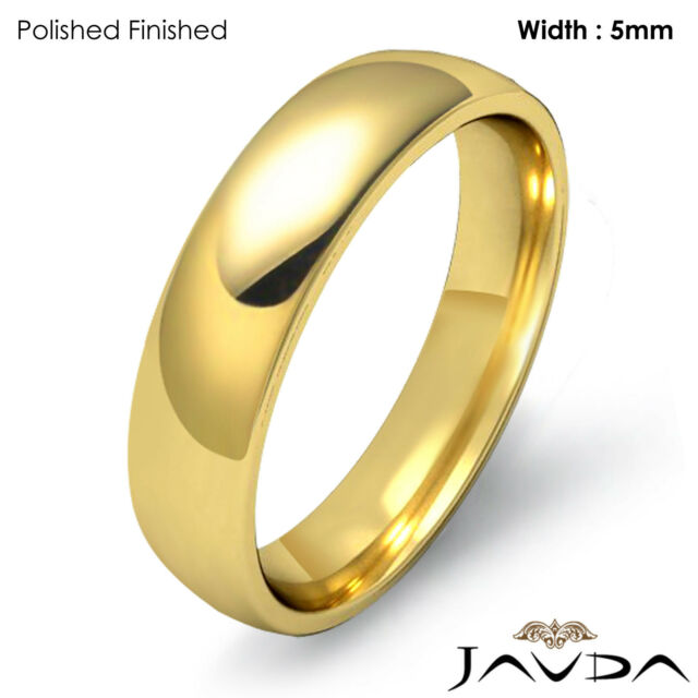 Mens 10K Yellow Gold 2mm Light Comfort Fit Domed Wedding Band Ring