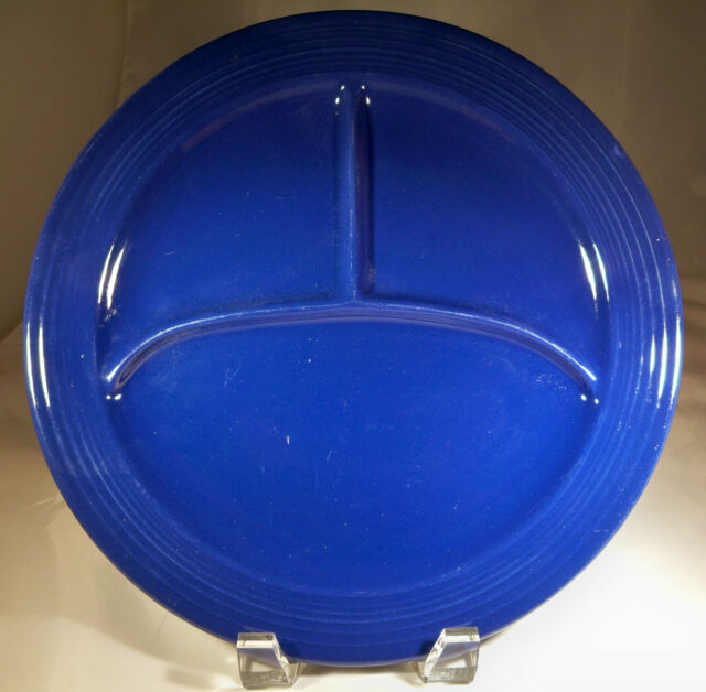 "VINTAGE FIESTA COBALT BLUE 10-1/2"" DIAMETER 3 SECTIONED COMPARTMENT PLATE!!"