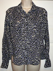 118d786a6 BDG Urban Outfitters Blue Gray Black White Animal Print Button LS ...