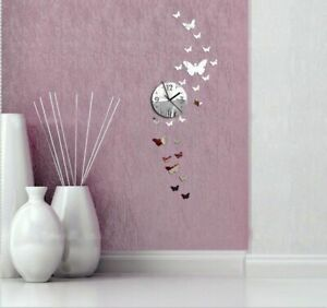 Wall-Clock-Butterfly-Home-Living-Room-3d-Diy-Acrylic-Mirror-Digital-Watch-Clocks