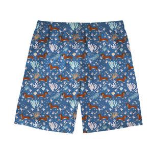 Mens Boardshorts with Elastic Waist Drawstring Walk Shorts Vintage Dachshund Patterned Swim Trunks