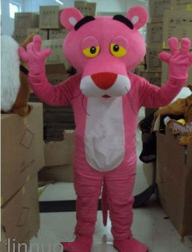 Cosplay Adults Parade Pink Leopard Mascot Costume Pink Fancy Dress Halloween NEW