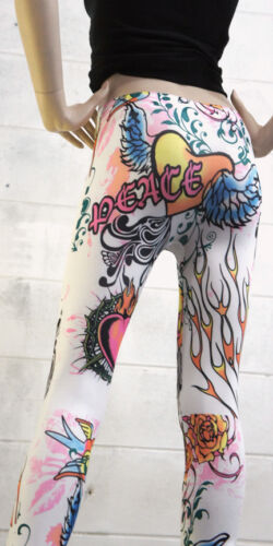 Tattoo Inspired Tight Floral Hearts Wing Printed Skinny Legging Pencil Yoga Pant