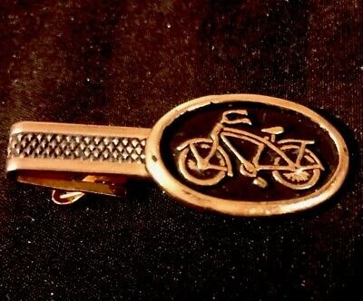 Bicycle Tie Clip Bike Tie Bar Handmade Decoupage Artwork Under Glass.