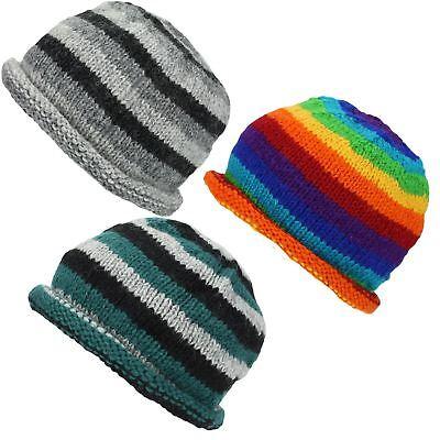 Laine tricot bonnet avec roulé brim hippie festival doublure chaude