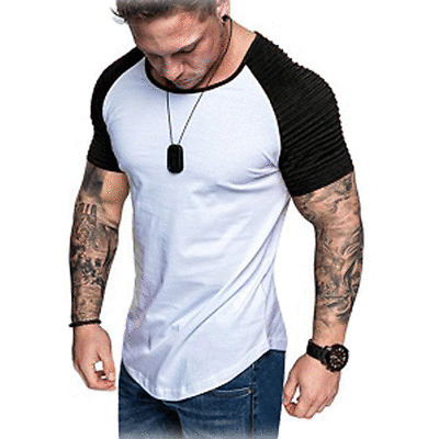 Fashion Men's Casual Fit Short Sleeve Slim Muscle Bodybuilding T-shirt Tee Tops