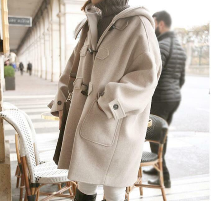 Womens Wool Blend Overcoat Duffle Breasted Hooded Loose Mid-Long Trench Coats