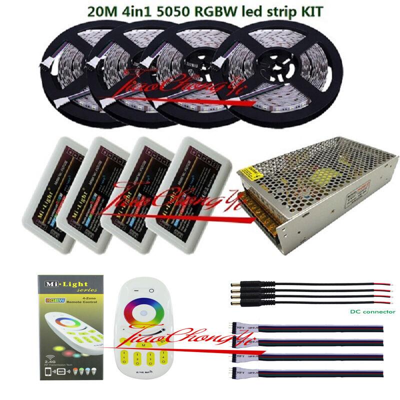 5-20M 5050 4 in1 30LED M rgbww de RBG + blancoo Cálido LED tira +2.4G Controller + potencia