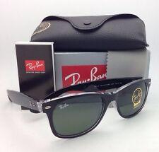 RAY-BAN Sunglasses RB 2132 6052 58-18 NEW WAYFARER Black on Clear w/Green Lenses