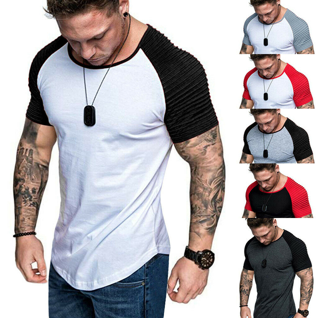 Fashion Men/'s Fit Short Sleeve Slim Muscle Bodybuilding T-shirt Tee Tops