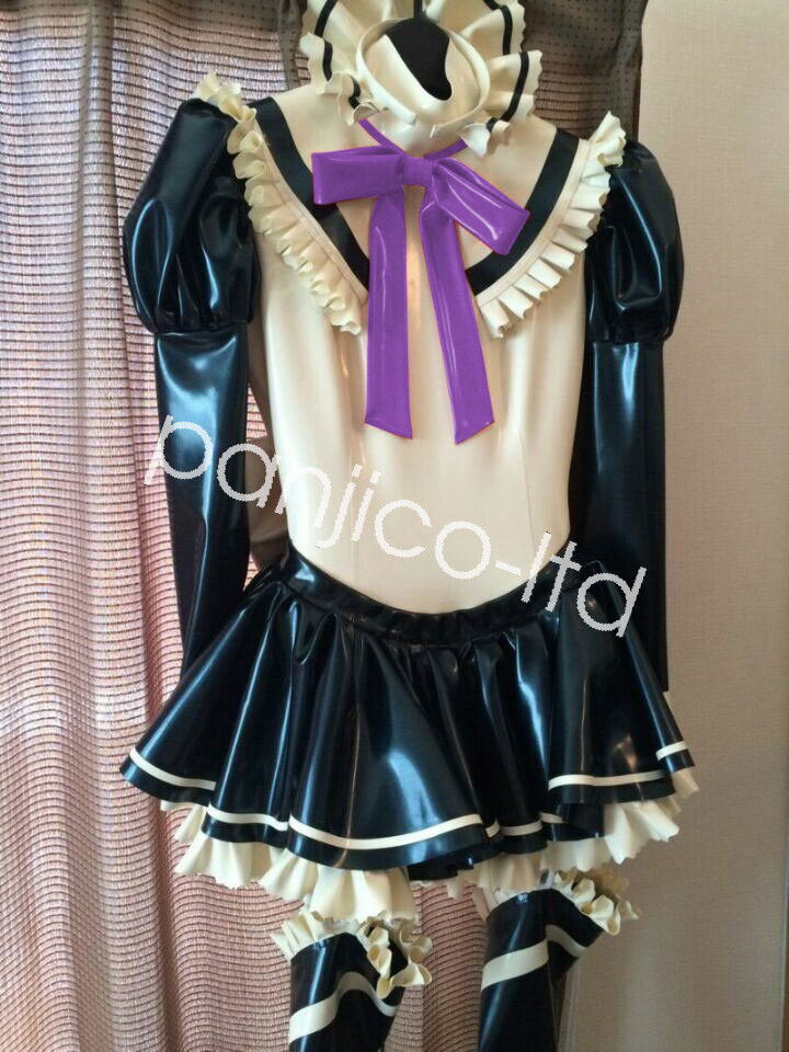 Latex Pure Rubber Woman Cosplay Maid Uniform Dress Skirt with Lace Größe:XXS-XXL