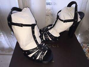 fc792b96c0 Image is loading Gucci-Jacquelyne-Studded-Strappy-High-Heel-Platform-Sandal-