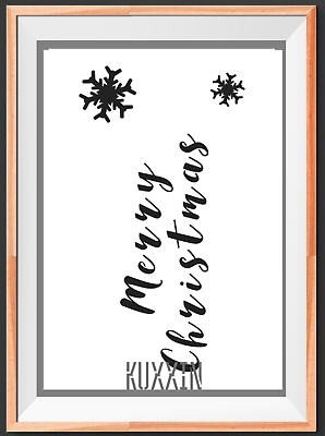 Merry Christmas Stencil Sign Words A5 A4 A3  Mylar Reusable Stencil Airbrush