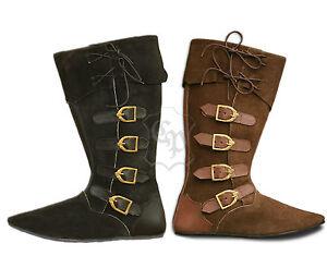 05a9c272c62a9 Das Bild wird geladen Mittelalter-Schuhe-Stiefel-Echt-Leder -Rauhleder-LARP-Mittelalterstiefel