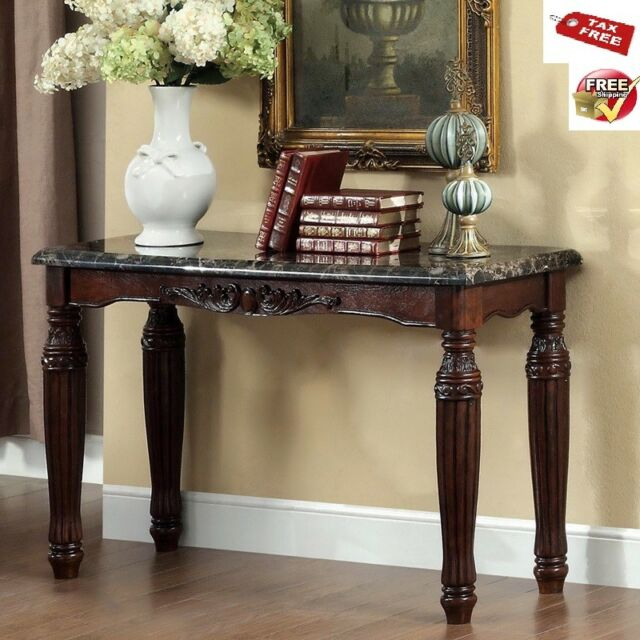 Entryway Table Faux Marble Top Console Sofa Wood Accent Espresso Traditional