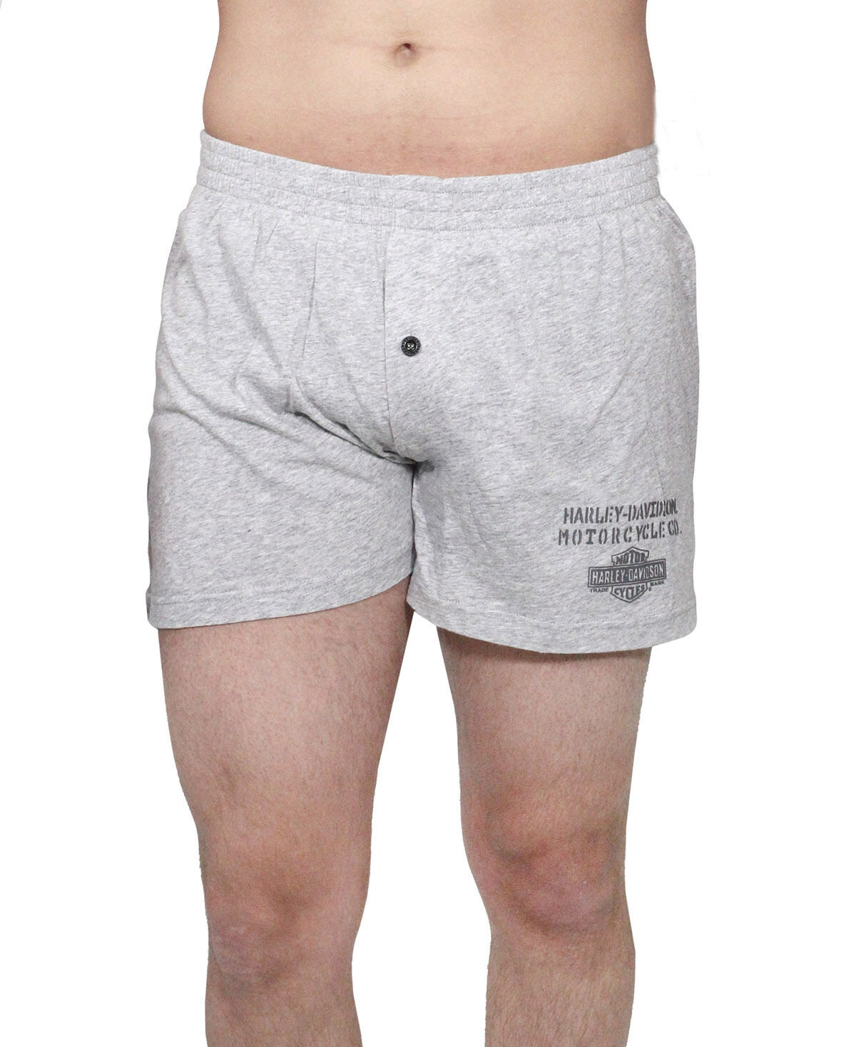 New Harley-Davidson Men Heathered Knit Grey Elastic Waist Boxer Short 97627-17VM