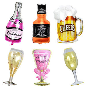 Decor Photo Booth Prop Aluminum Champagne Foil Balloon Cup Beer Bottle Shape
