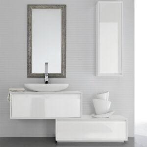 Mobile bagno moderno sospeso a cassetti ar45 03 bianco lucido ebay - Mobile bagno bianco lucido ...