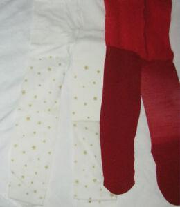 2x Bébé Fille Collants Âge 0-3 Mois Rouge Sparkle & Ivory & Gold Stars. Noël Nouveau-né-afficher Le Titre D'origine Valeur Formidable